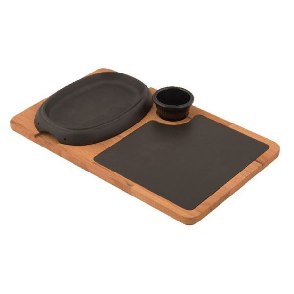 Oval Hot Plate, Ahşap ve Porselen Servis Plakası